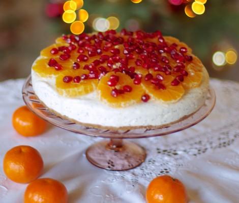 Varškės tortas su mandarinais ir aguonomis