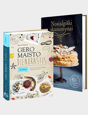 """Knygų komplektas: """"Gero maisto dienoraštis. Žiema"""" + """"Nostalgiški skanumynai"""""""